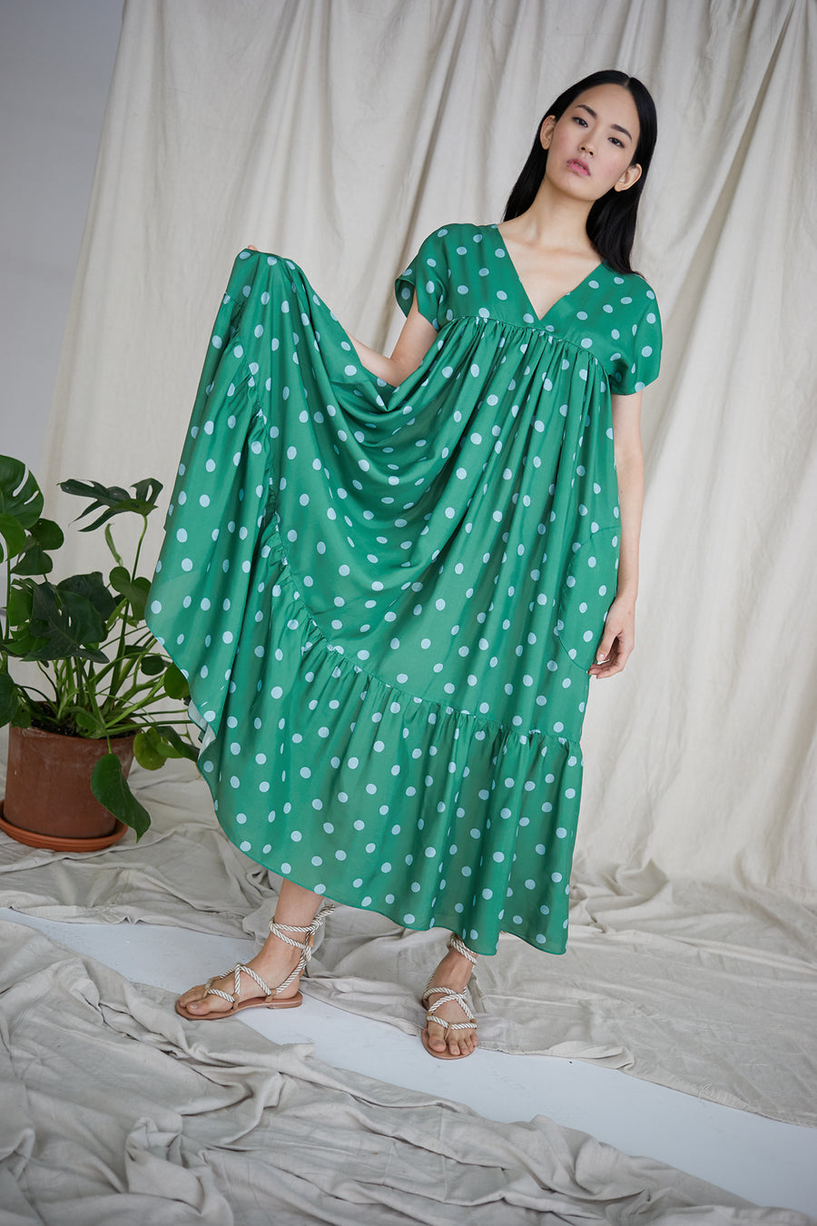 Gillian Dress in Green/Turquoise Polka Dots