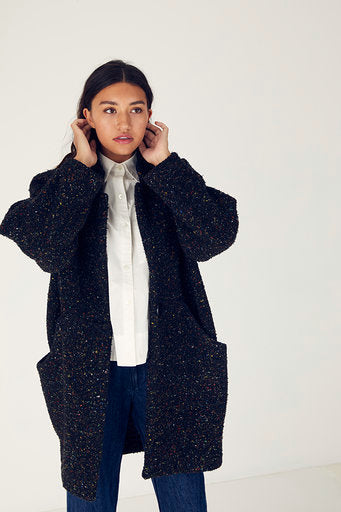 Cocoon Coat Rainbow Speckle Black Multi
