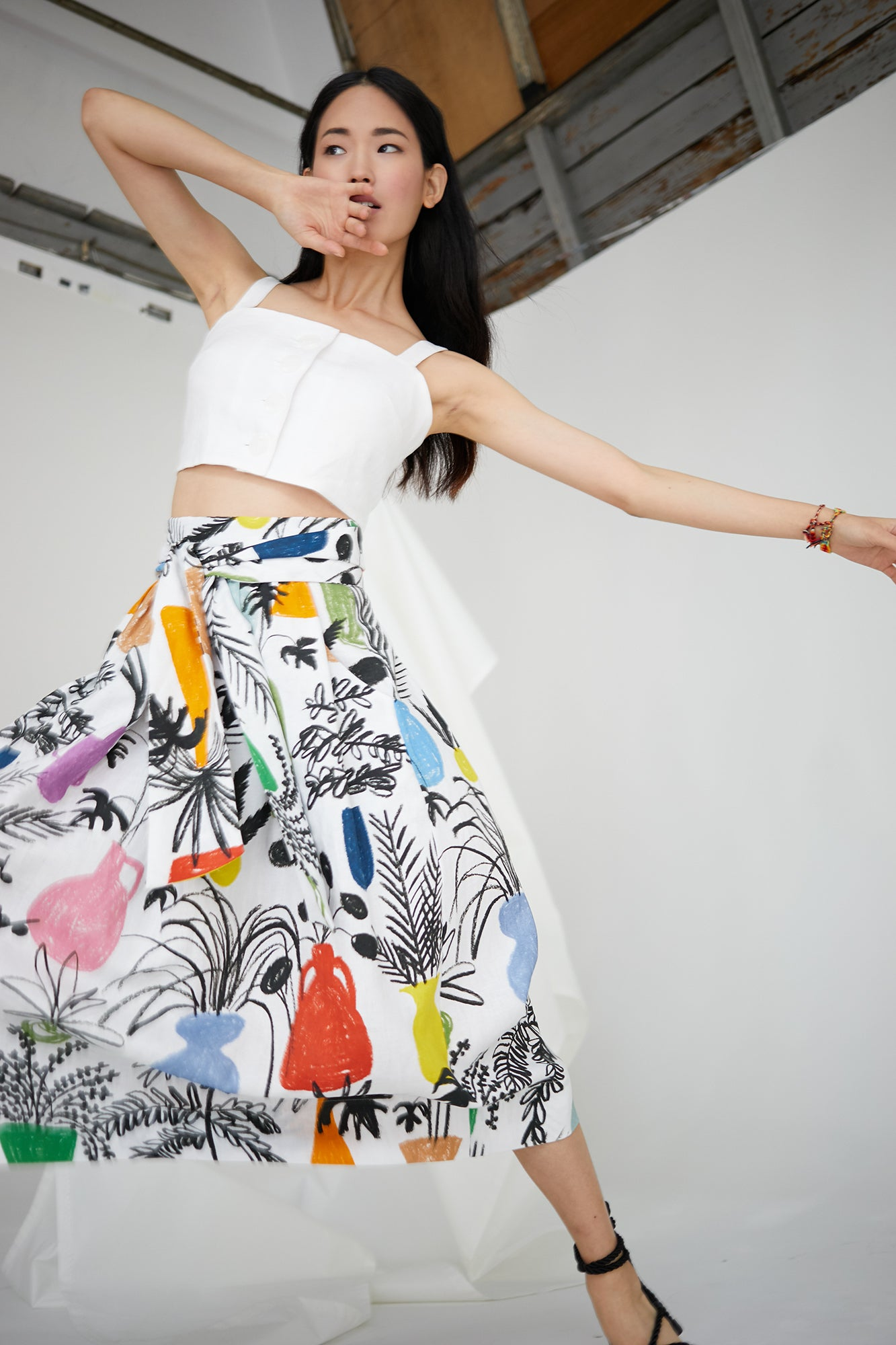 Kimani Skirt in Potted Plant Print
