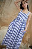 Pocket Dress in Blue and White Vertical Stripes