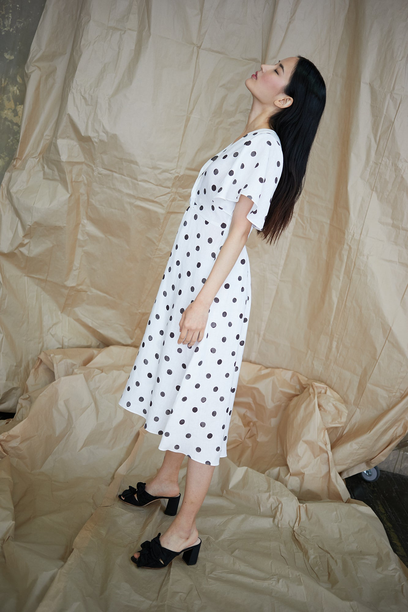 Twist Dress in White/Black Polka Dots