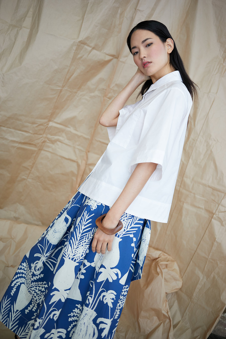 Kimani Skirt in Potted Plant Print Blue/White