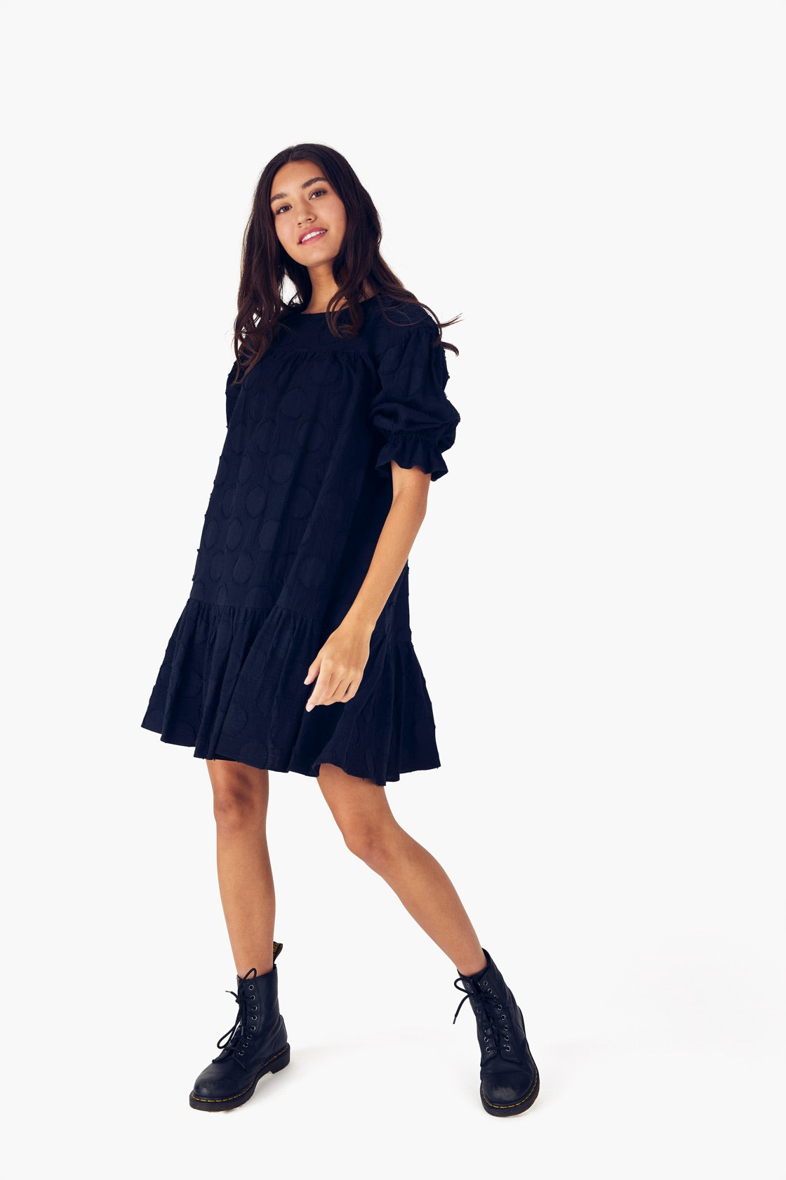 Yoke Dress in Textured Dot Black