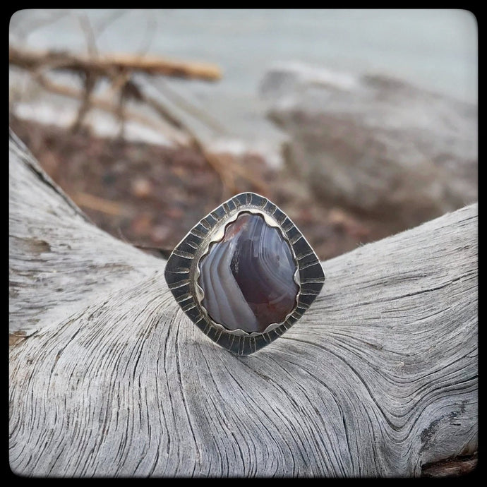 Lake Superior Agate Ring ~ Size 8.5
