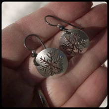 Load image into Gallery viewer, Sterling Snowflake Dangle Earrings ~ Made in Michigan ~ Upper Peninsula