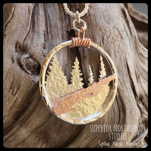 Michigan Isle Royale Copper and Sterling Silver Pendant ~ Michigan Made ~ Upper Peninsula