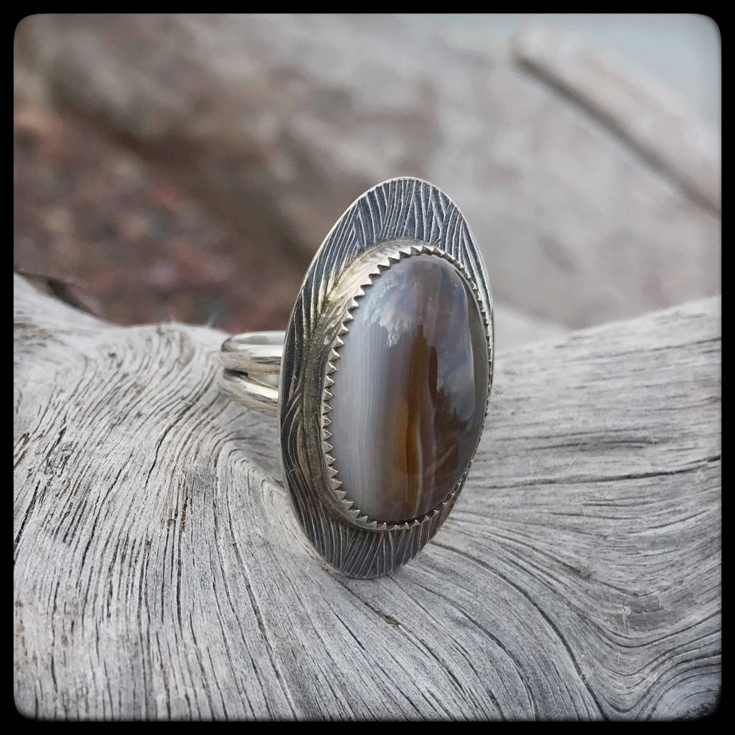 Lake Superior Agate Ring ~ Size 8