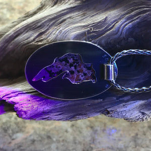 UP Light / Emberlite / Syenite with Sodalite ~ Lake Superior (Yooper) Fluorescing Stone Pendant in Sterling Setting ~Duluth MN