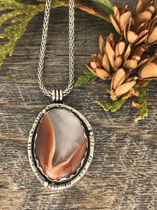 Lake Superior Agate set in Sterling Silver ~ Pendant ~ Made in Michigan ~ Upper Peninsula