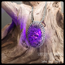 Load image into Gallery viewer, UP Light / Emberlite / Syenite with Sodalite ~ Lake Superior (Yooper) Fluorescing Stone Pendant in Sterling Setting ~Duluth MN