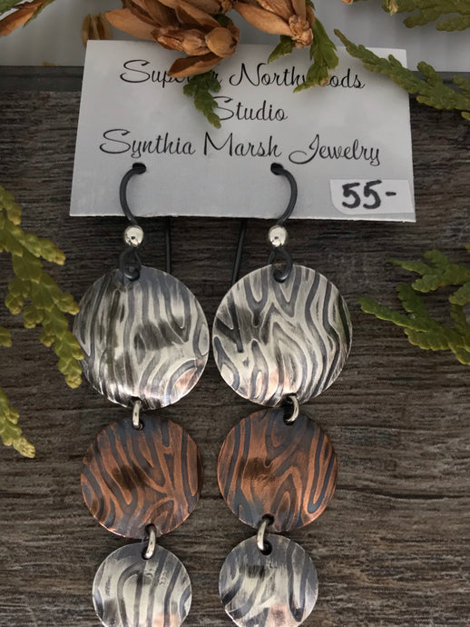 Sterling Silver/Copper 3-Tiered Dangle Earrings ~ Made in Michigan ~ Upper Peninsula