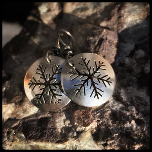 Sterling Snowflake Dangle Earrings ~ Made in Michigan ~ Upper Peninsula