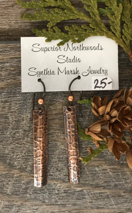 Copper Giraffe Pattern Bar Dangle Earrings ~ Made in Michigan ~ Upper Peninsula