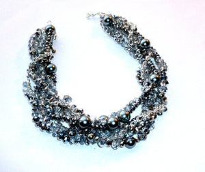 Swarovski crystals and Pearls Multi-Strand Necklace