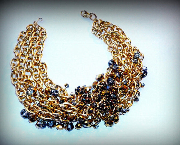 Capela Swarovski Crystal Gold Collar Necklace