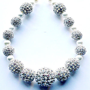 Ritz Crystal Rhinestone and Pearls Choker