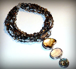 Labradorite and Swarvoski Crystals Collar pendant Necklace(sold out)