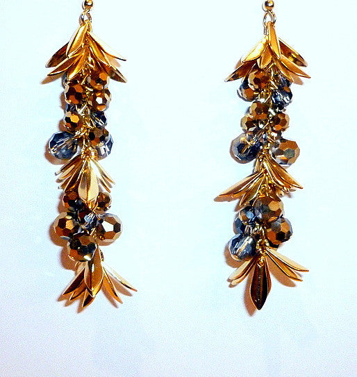 Black and Gold Swarovski Crystal Spiked Earrings