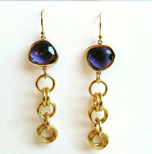 Gold Chain Amethyst  Earrings