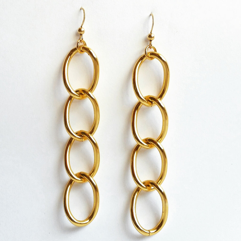 Gold Chain Loop Earrings