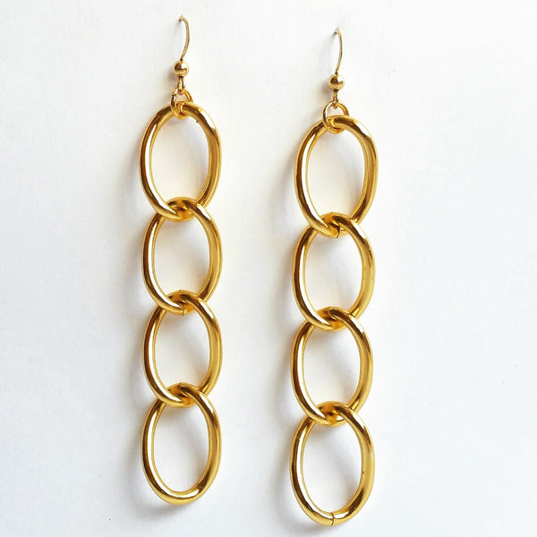 Long Gold Link Earrings