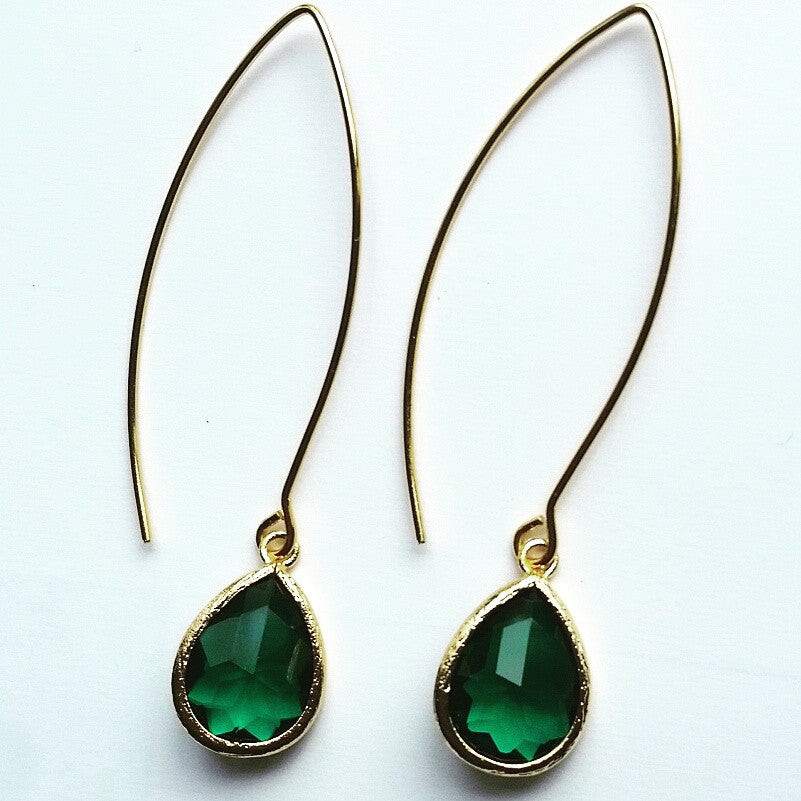 Emerald Green Marquise Dangle Earrings