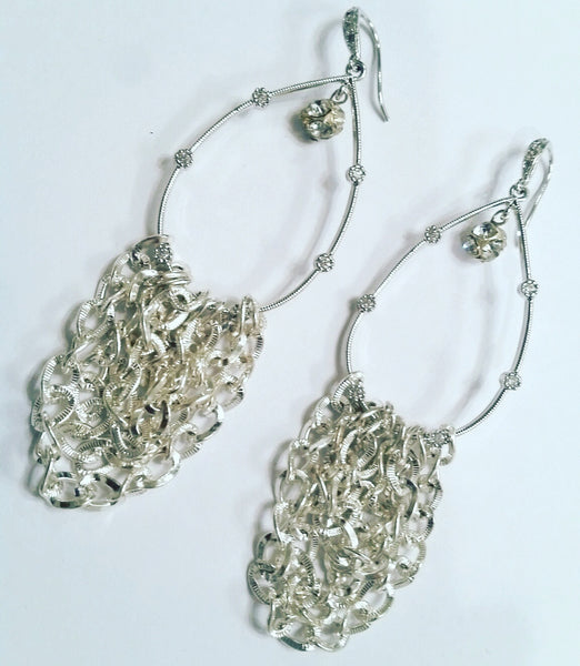 Silver Crystal Loop Earrings with Silver Chain