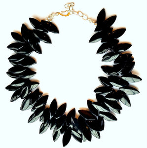 Black Jet Resin 2 strand beaded Collar Necklace