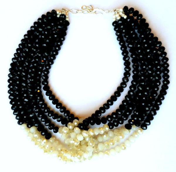Black and White Beaded Knot Collar Necklace