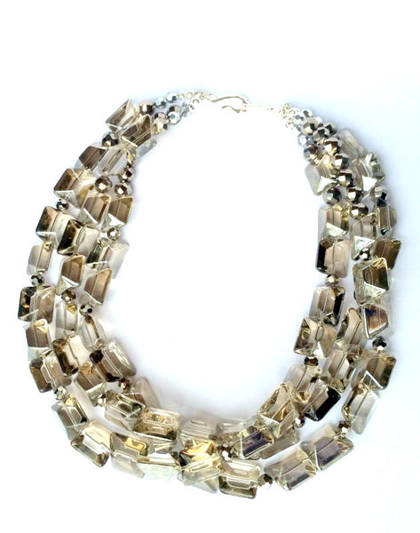 Crystal Gray Beaded Collar Necklace