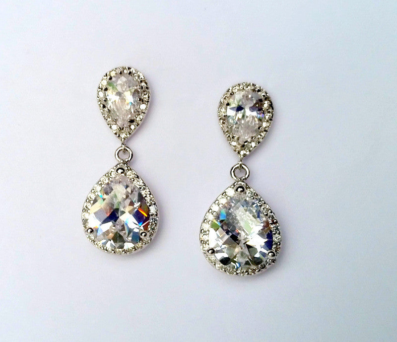 Pave Cubic Zirconia Teardrop Earrings