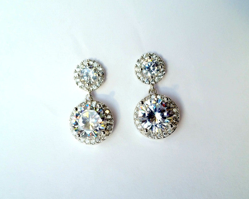 Cubic Zirconia Pave Round Drop Earrings