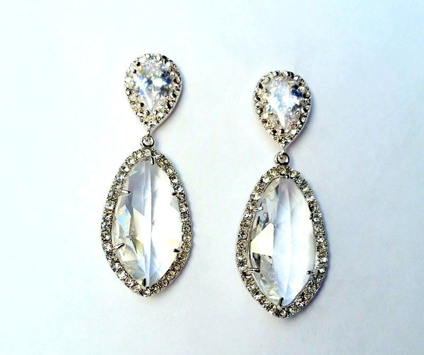 Silver Pave Teardrop Marquis Earring