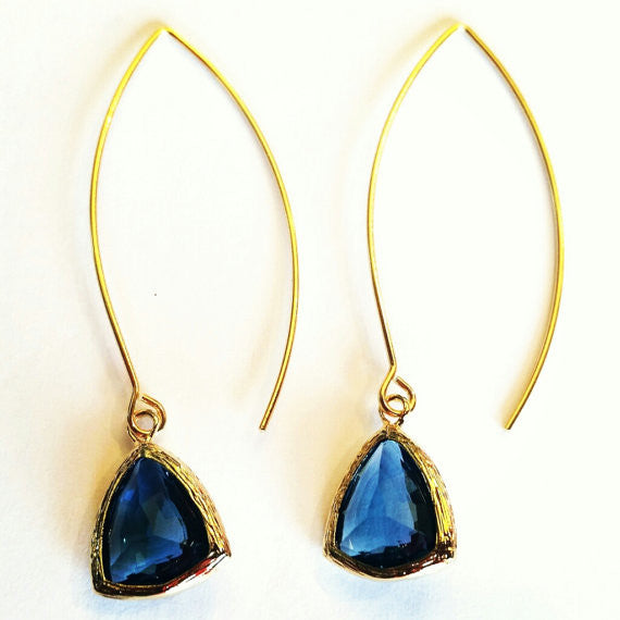Sapphire Marquise Dangle Earrings