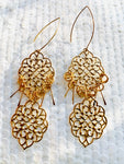Gold Moroccan Charm Tassel Earrings