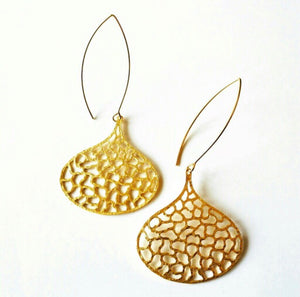 Organic Matte Gold Dangle Earrings