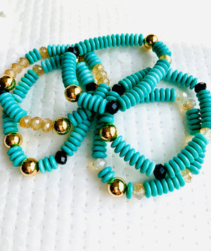 Turquoise and Gold Statement Bracelet
