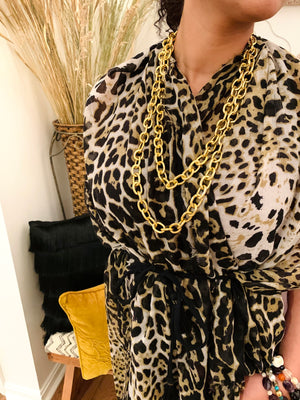 Long Gold Chain Link Necklace