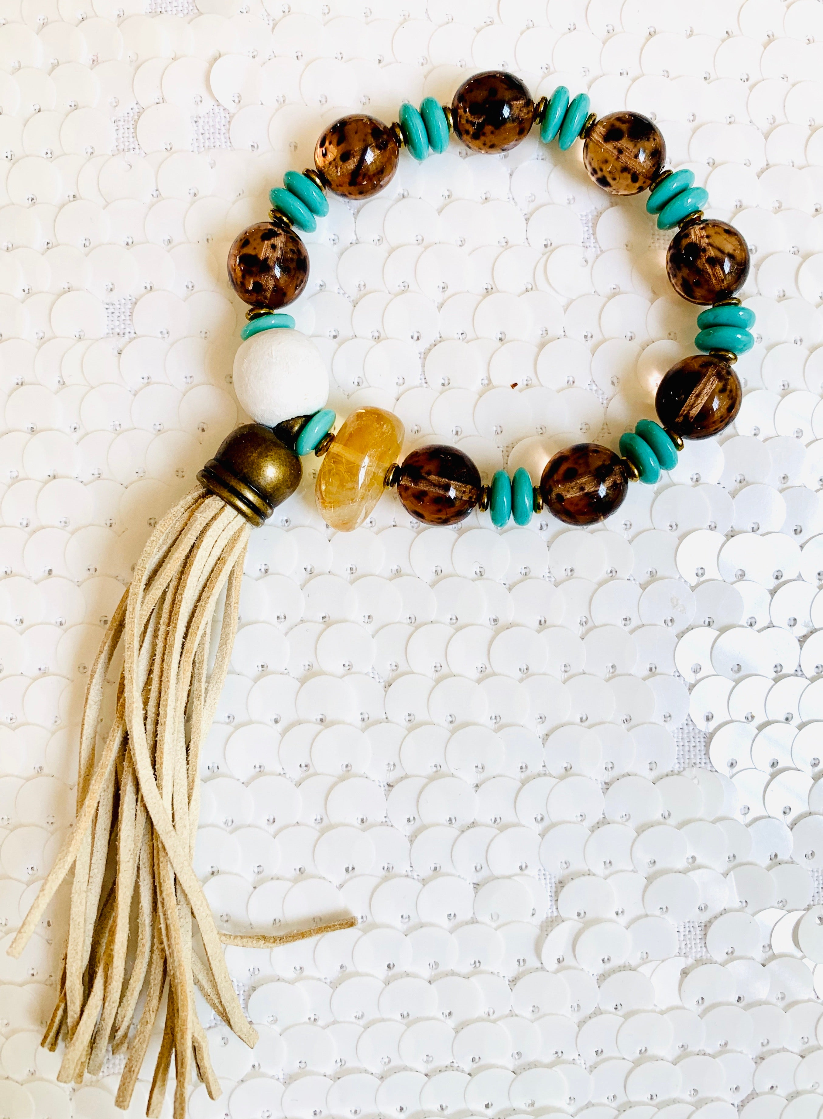 Exotic Smokey Quartz and Turquoise Bracelet
