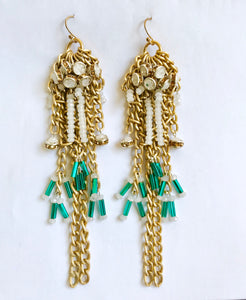Faith Gold Beaded Chain Earrings