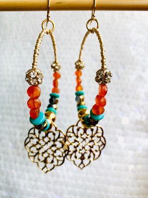 Gold Hoop Earrings In Turquoise and Orange Carnelian