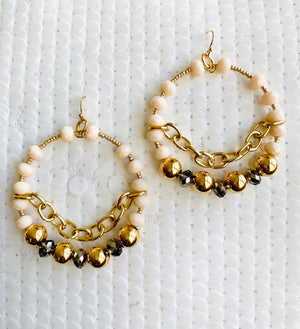 Gold and Gray Hoop Earrings with Chain Details