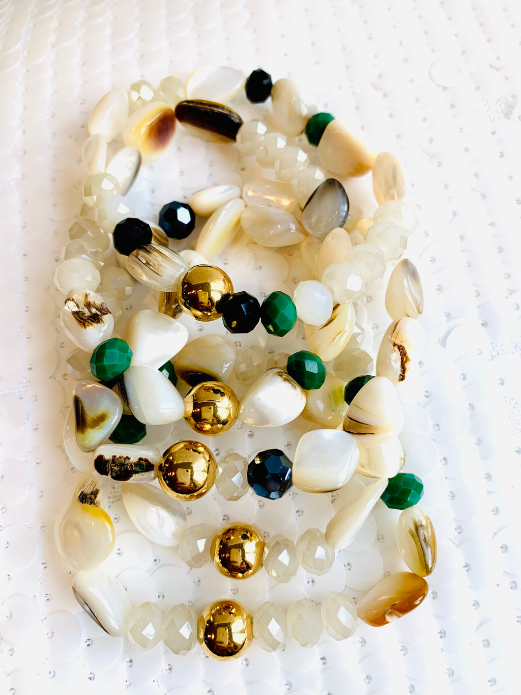 Mother of Pearl , Jade and Gold Bracelet