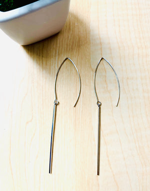 Silver Minimalist Dagger Earrings
