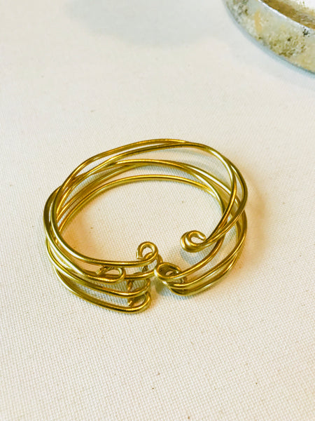 Brass Bangle Bracelet Set