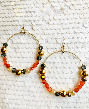 Gold Gemstones and Crystal Hoop Earrings