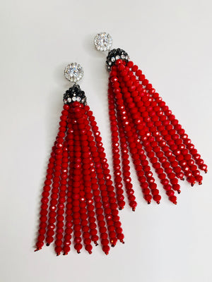 Ruby Red Tassel Earrings