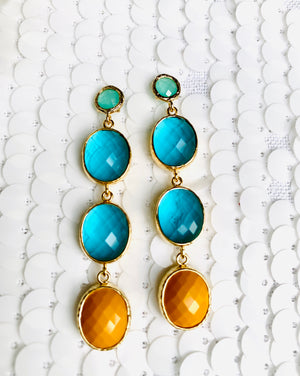 Woman Topaz Mustard and Mint Green Drop Earrings