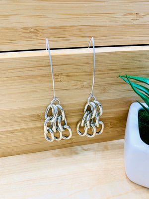 Silver Marquis Chain Earrings