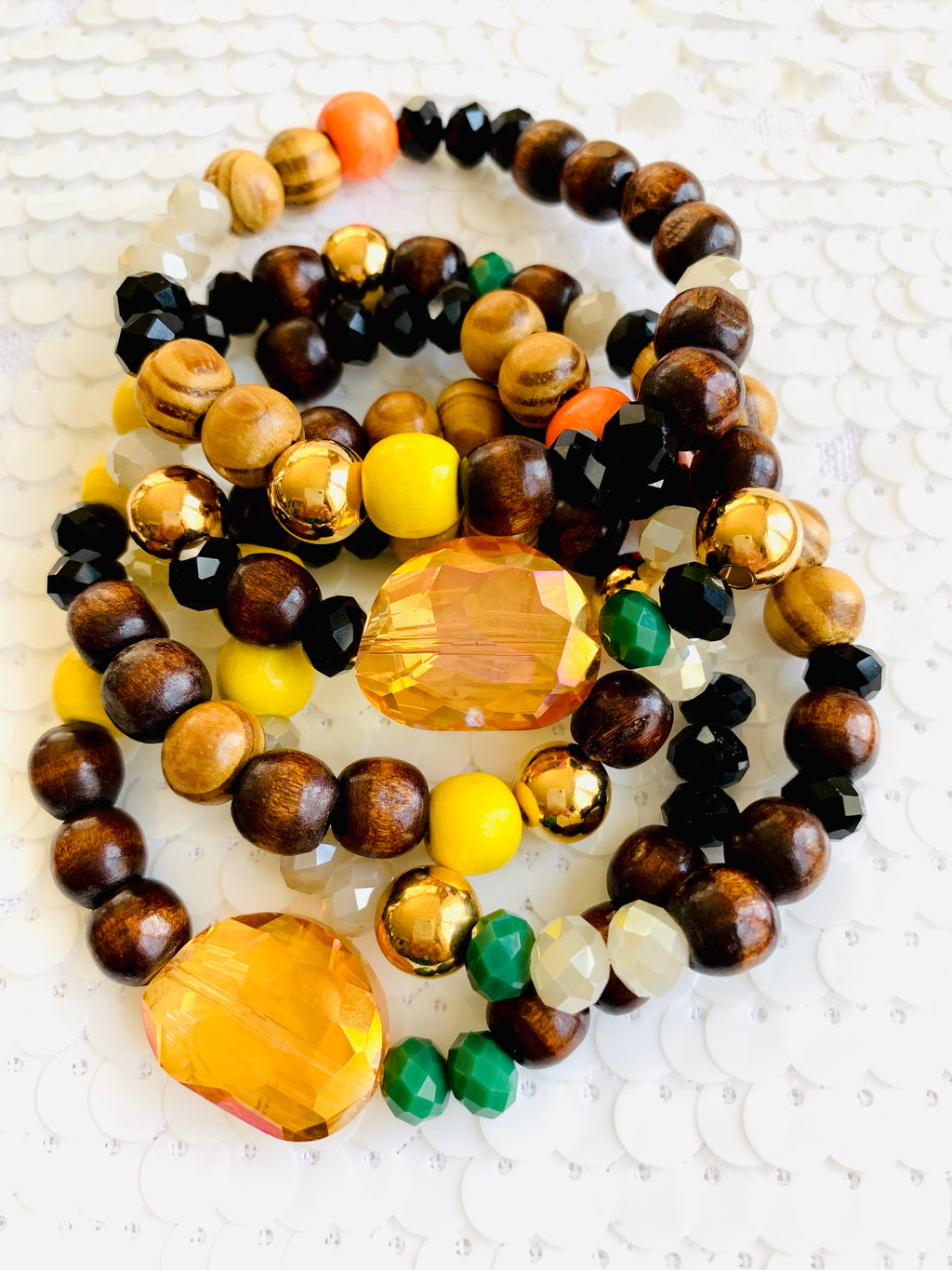 Colorful Crystals and Wood Bracelets